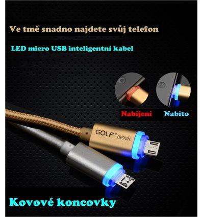 Datový inteligentní micro USB LED kabel GOLF - Stříbrný